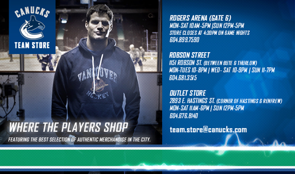 Vancouver Canucks Team Store Web Header