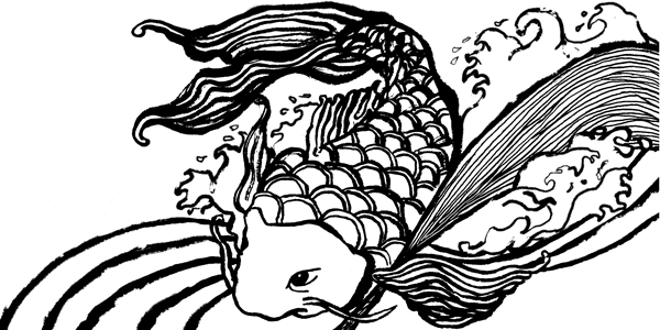 Aji Noodle koi illustration