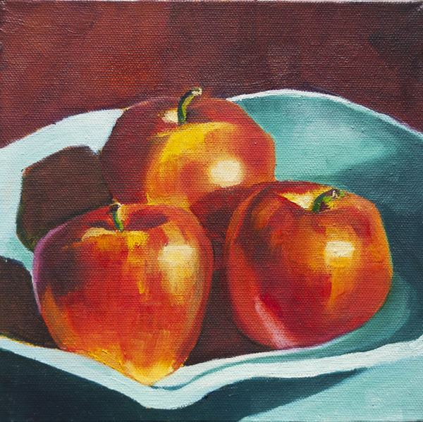 Apples Still Life 8x8 North Van Anonymous Art Show